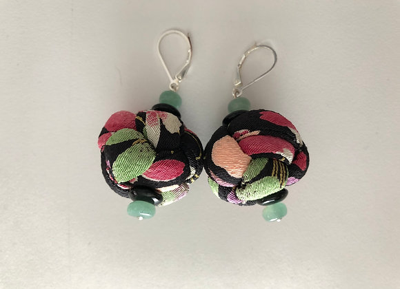 Large black, pink, and green Japanese Chirimen fabric knot