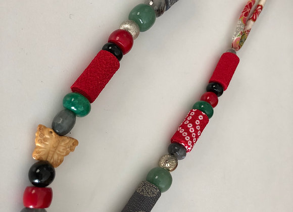 Red/grey long necklace with Japanese fabric cord and mixed beads