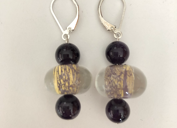 Gold and purple Czech glass and amethyst