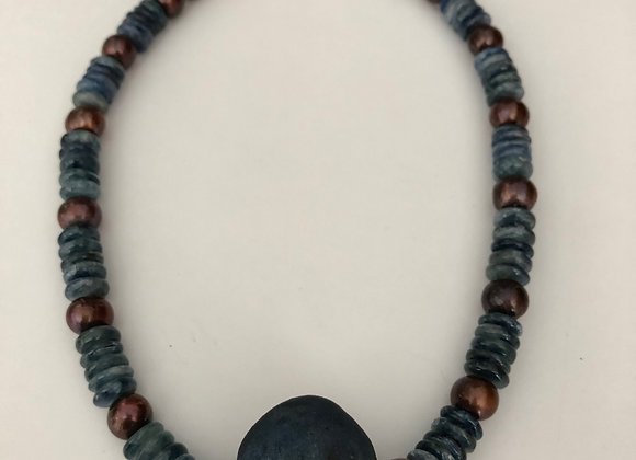 Raku fired matte blue bead with bronze pearls
