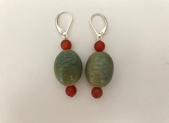 Carved green jade and red agate