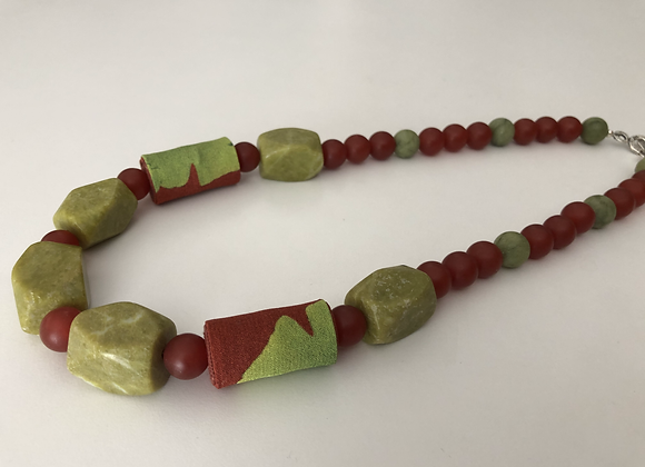 Green turquoise and red agate with gingko leaf print silk fabric