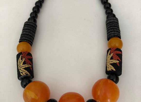 Copal amber with Japanese Chirimen fabric