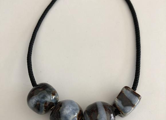 Blue and white glazed ceramic beads