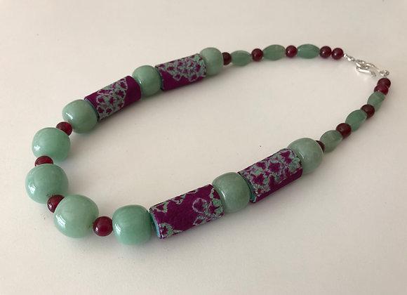 Green aventurine and quartz with Japanese Shibori fabric