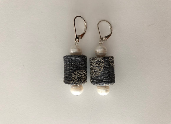 Grey Japanese Obi fabric cylinder