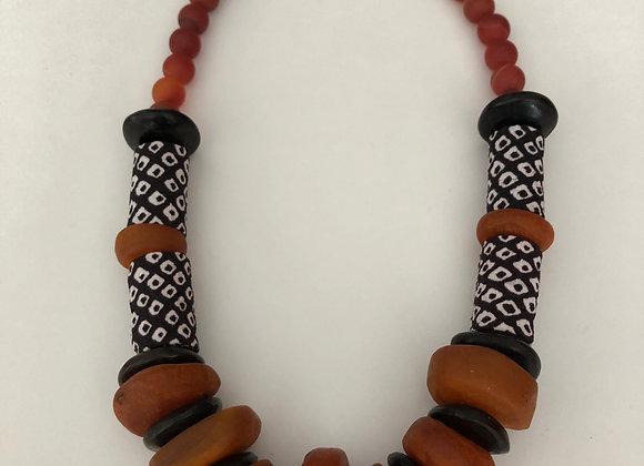 African orange  and black bone with Japanese Shibori fabric