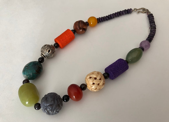Large mixed beads with Japanese Chirimen fabric
