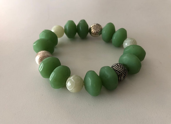 Green glass and scrolled jade