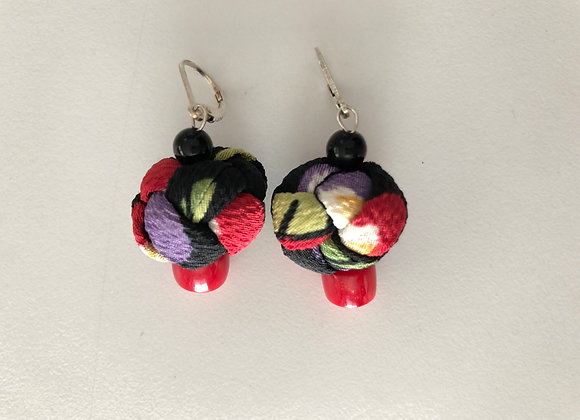 Medium black, red, and purple Japanese Chirimen fabric knot