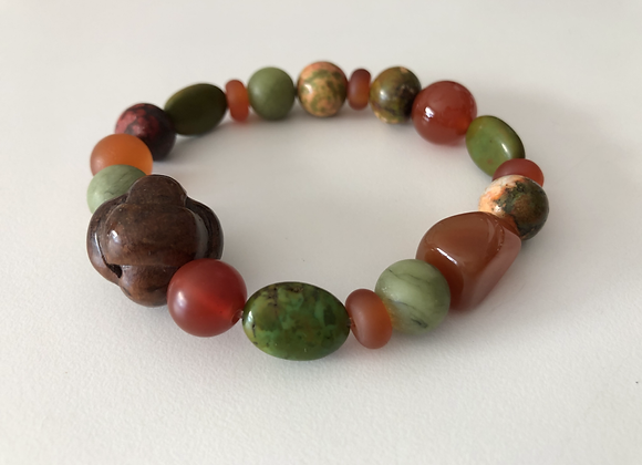 Natural jade, carnelian, and wood