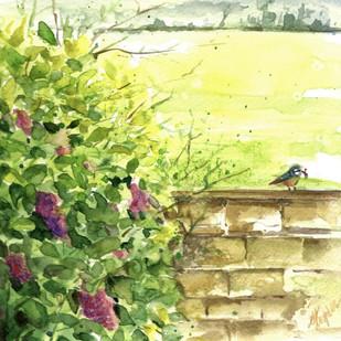 Garden flowers with birds