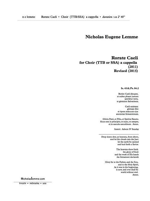 Roráte Caeli   2015   TTB or SSA a cappella   4'