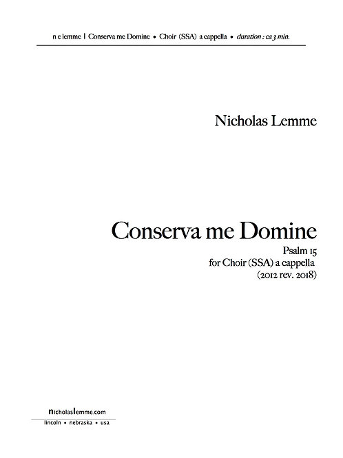 Consérva Me Dómine | 2016 | SSA a cappella | 3' 33''