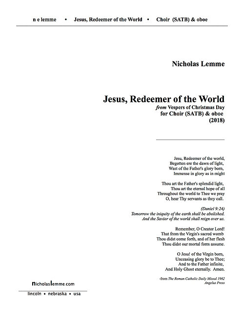 Jesus Redeemer of the World  |  2018  |  SATB  & oboe/violin  |  6'