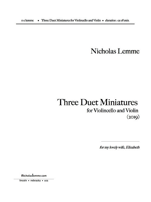 Three Duet Miniatures for Cello and Violin  |  2019