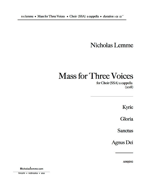 Sanctus from Mass for Three Voices  |  2018  |  SSA  a cappella |  2'30'