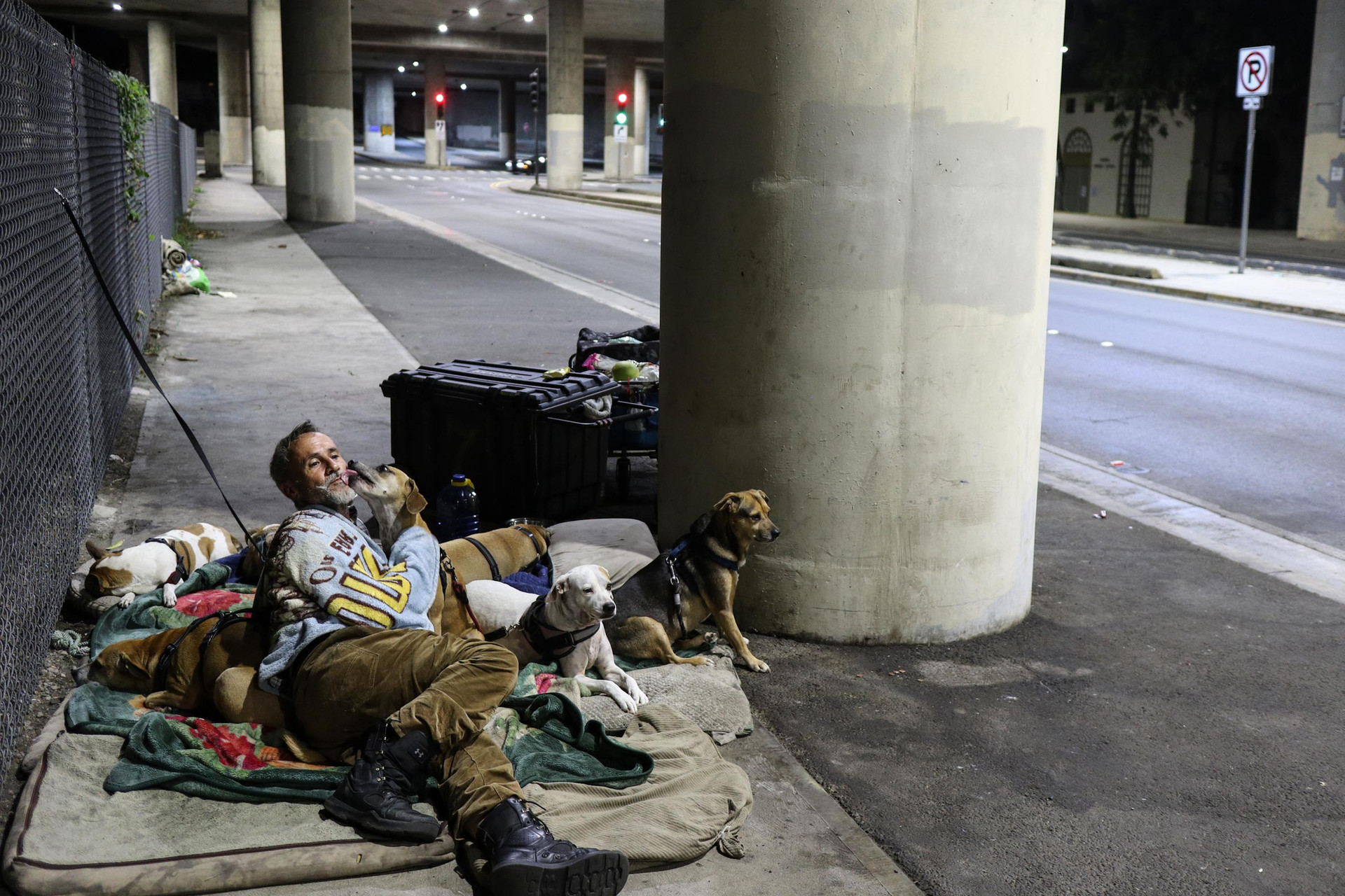 "Dornfried spends time with his dogs at his sleeping location situated a block away from his primary location where he remains for the majority of the day until it gets dark. From the story ""Homeless for a reason."""