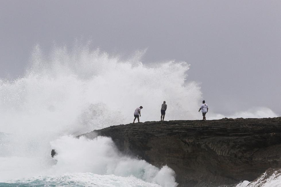 Big waves hit the North Shore coastline as Hurricane Douglas hits O'ahu, HI on July 26, 2020