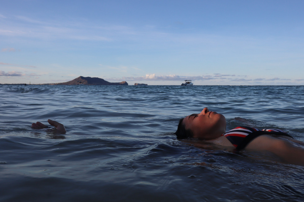 Rower Lia Ditton enjoys her time floating in the water on October 1, 2020 in Lanikai Beach, Kailua, HI. Rower Ditton rowed solo from San Francisco starting on June 12, finally reached Hawai'i on Saturday, Sept. 12, creating a new world record.