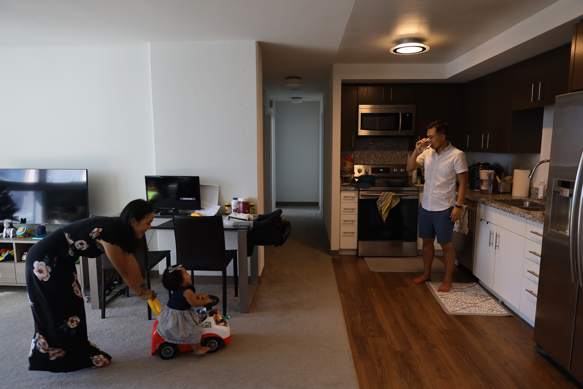 The Matsui family in their Kaka'ako condominium on Saturday, December 12, 2020. They have been living here for there past six months. Following the closure of Bay Area due the pandemic, the family has decided to work remotely from Hawai'i without any possible return to San Francisco.