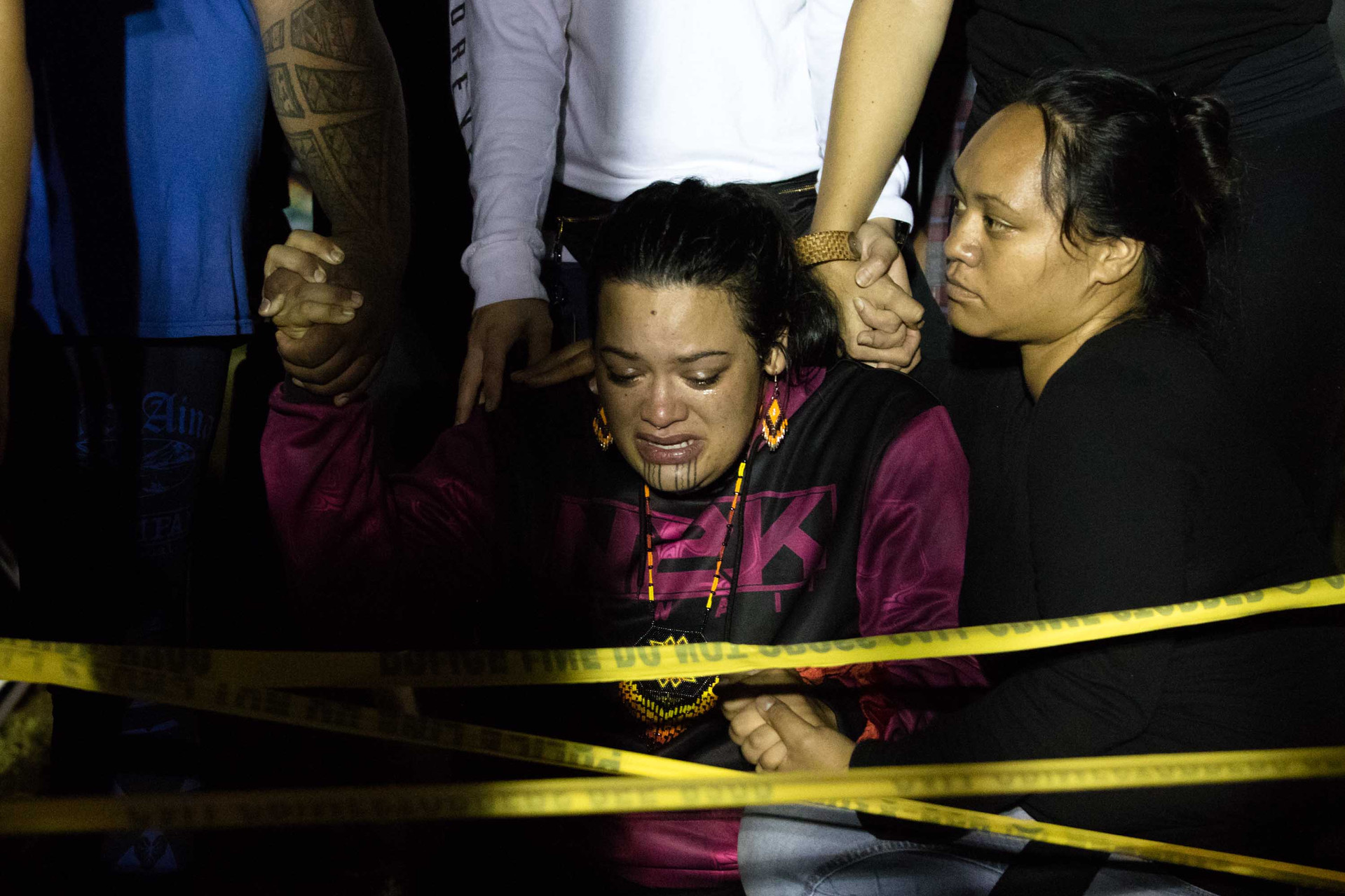 Wind farm protestor Ku'ulei Perreira-Keawekane gets emotional over the wind farm project arrests in Kalaeloa on November 19, 2019