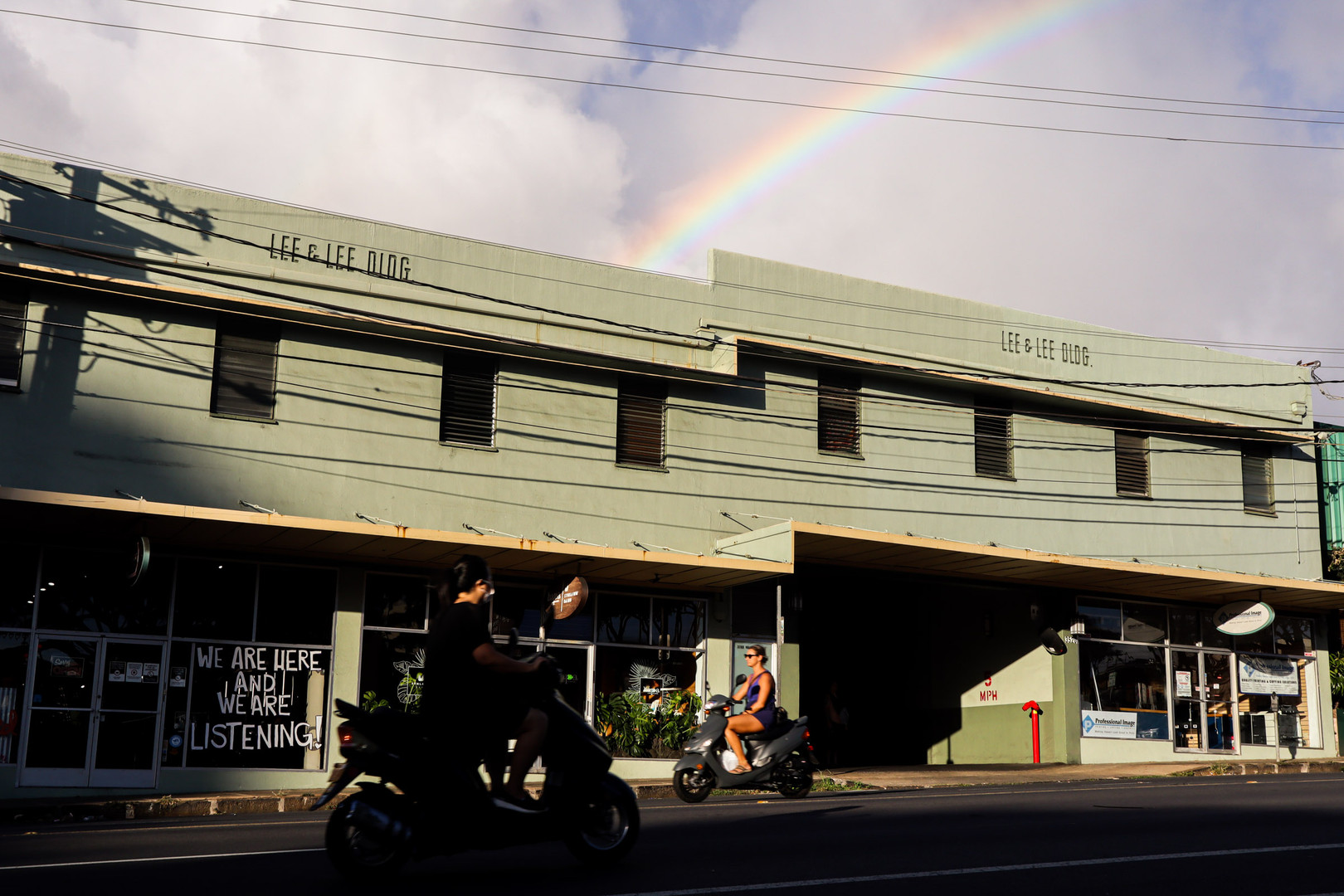 A sign is displayed over the entrance of The Black Cat Salon + Spa at Waialae Ave on September 27, 2020. Kaimuki neighborhood is one of the most well known place in town for it's reputation over small businesses.