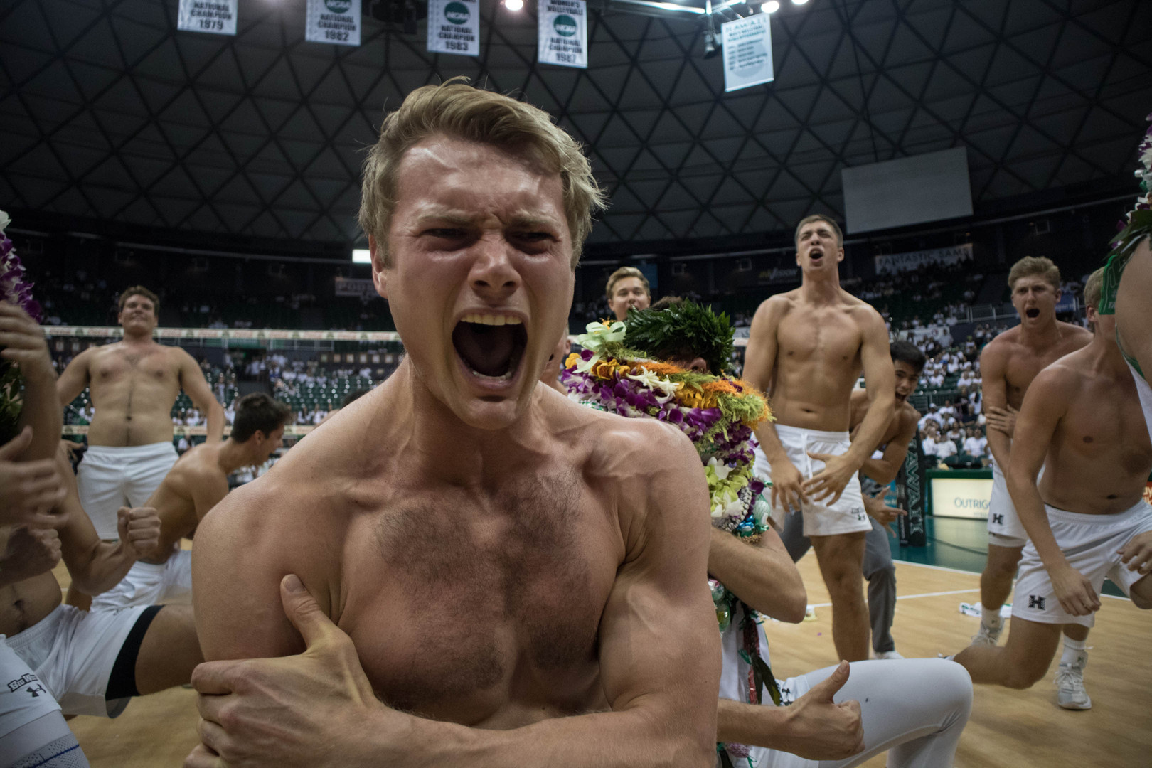 Hawaii volleyball outside hitter James Anastassiades screams during his performance at the senior night haka on April 7, 2019 at the Stan Sheriff Center.