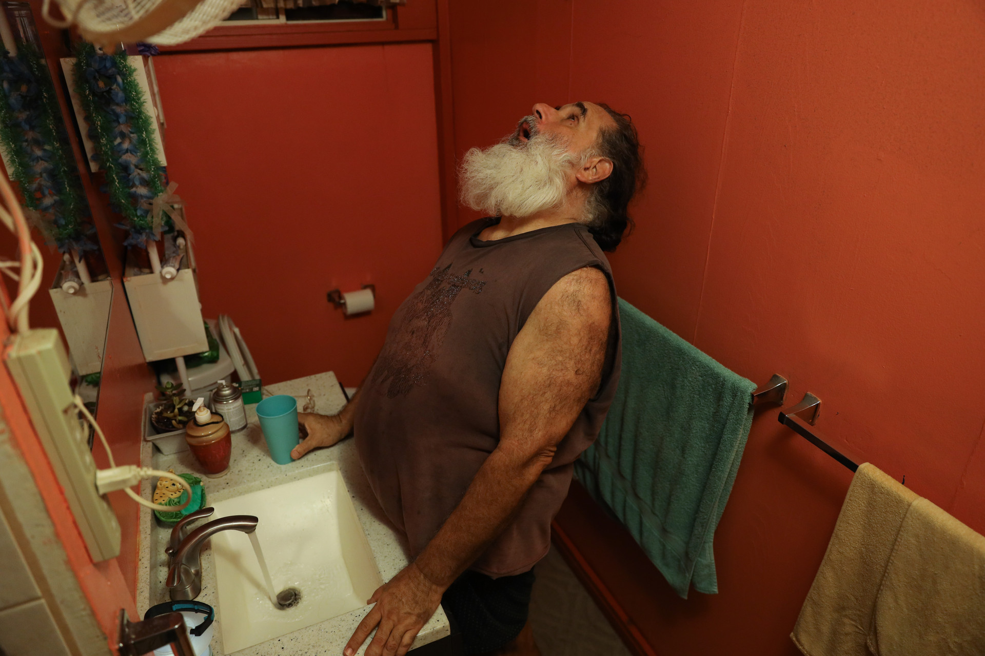 Gonzales gurgles in the bathroom after arriving at his house from the show on December 11, 2020. He believes continuous cheering towards the people worsen his voice. For recovery he gurgles frequently after the shows.