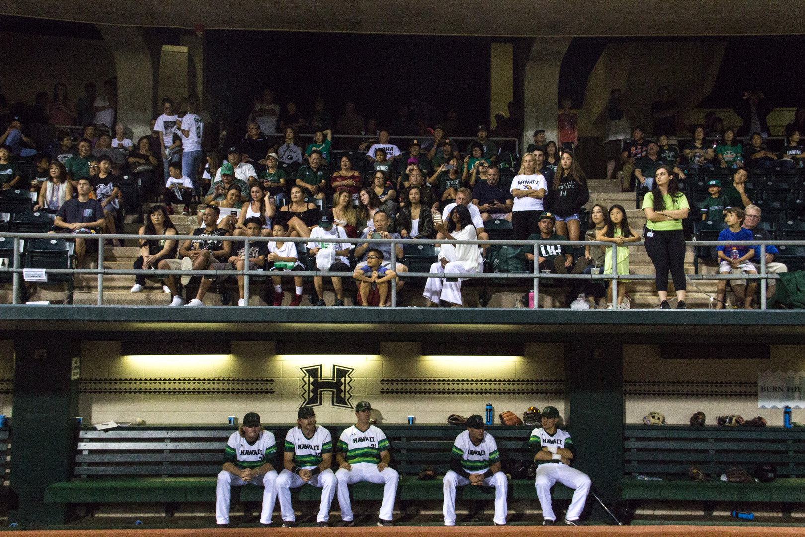 University of Hawaii baseball seniors of 2017 waits for his name to be called as the audience gather on the gallery, during the Rainbow Warrior baseball Senior Night on May  29, 2017.