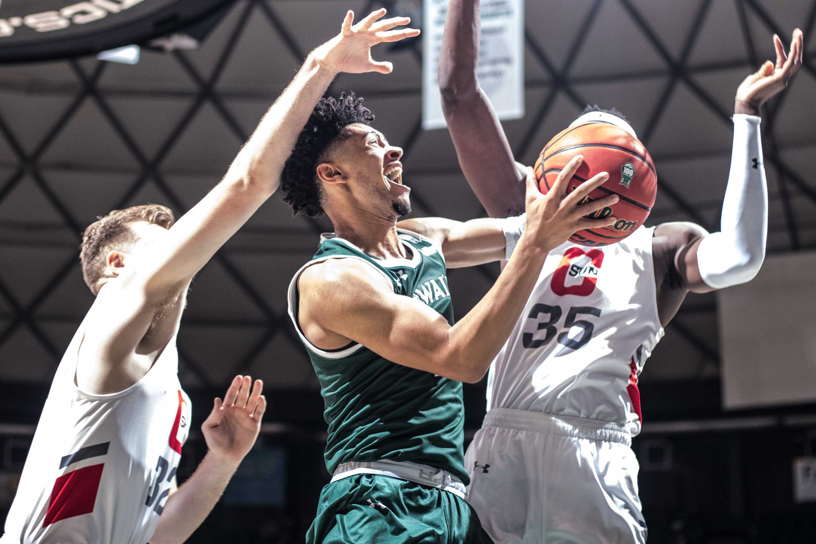 Hawaii's freshman Justin Webster attempts to score on a layup against CSUN on February 1, 2020. Hawai'i overcame a 17 point deficit in the second half to beat Cal State University Northridge in an 80-75 win in front of a crowd of 5,311 on Saturday night at the Stan Sheriff Center.