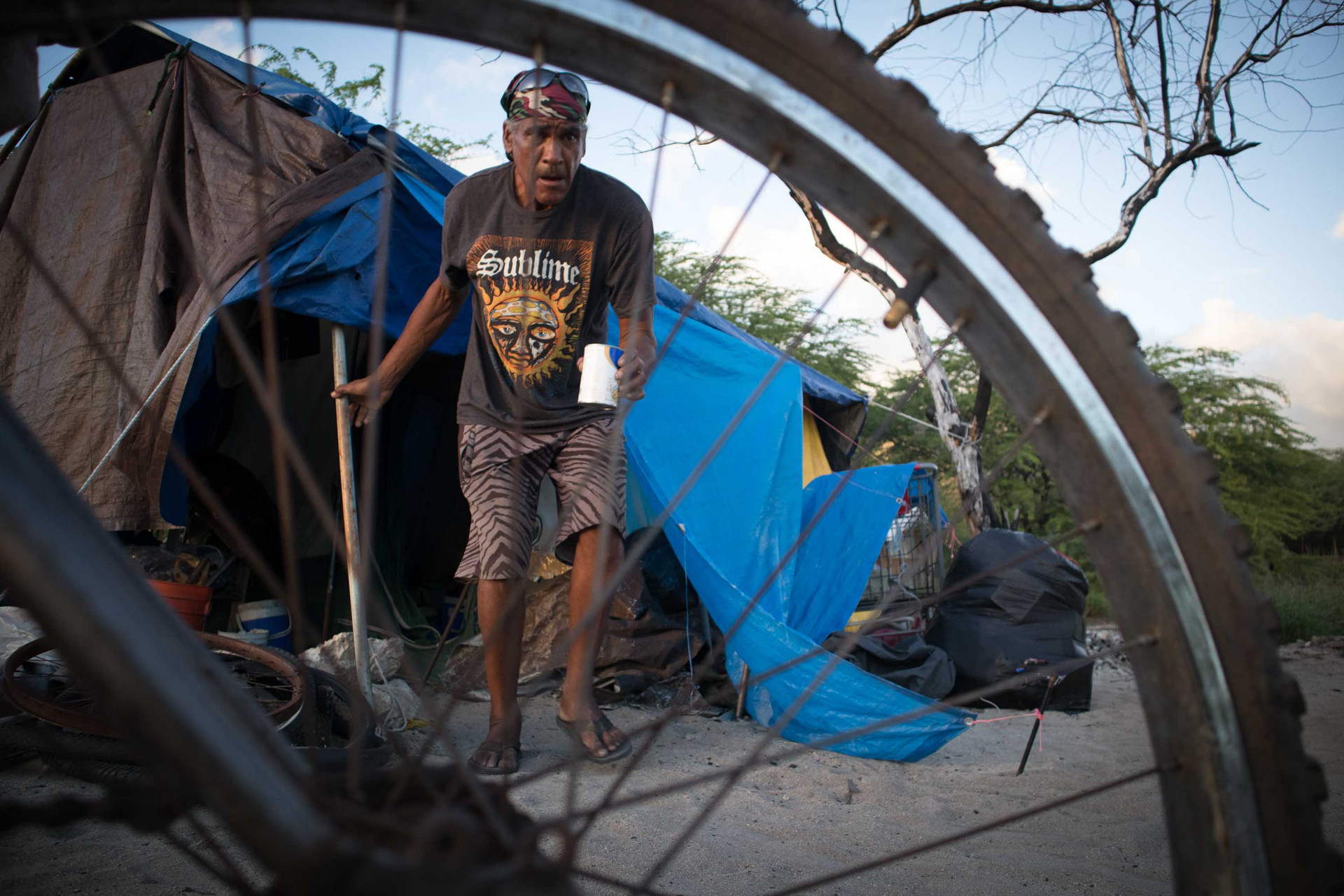 Jeffrey became homeless after he moved to Hawaii but Twinkle Borge, leader of Pu'uhonua O Wai'anae made an arrangement for him at oceanside of the village which he can finally call 'home.'