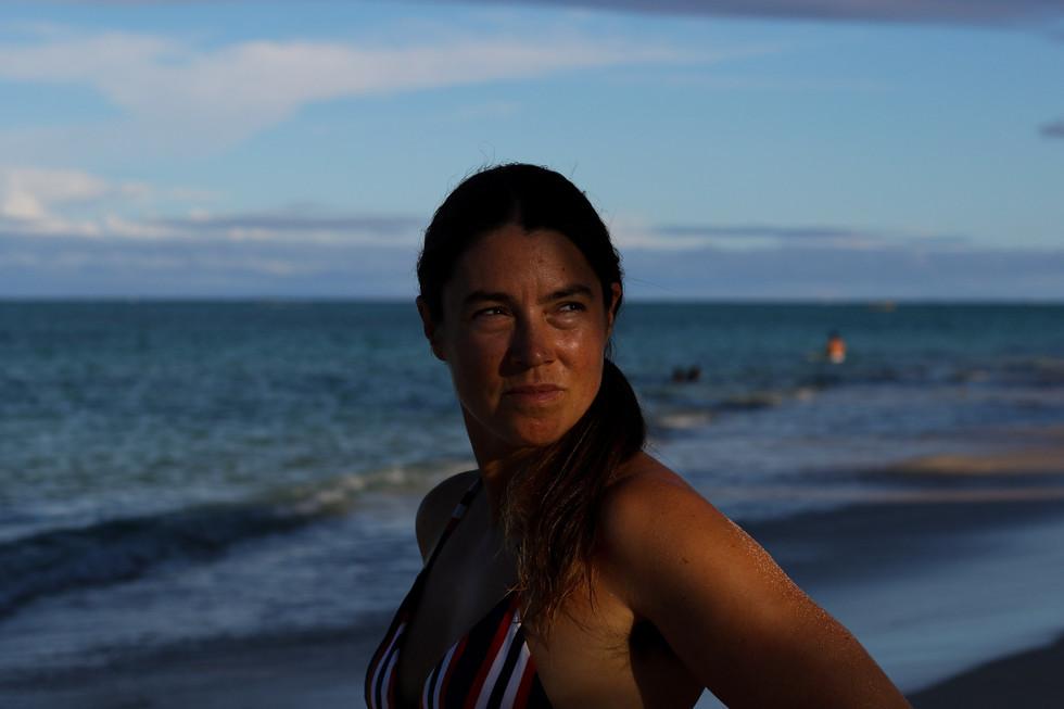 Rower Lia Ditton poses for a portrait on October 1, 2020 in Lanikai Beach, Kailua, HI.