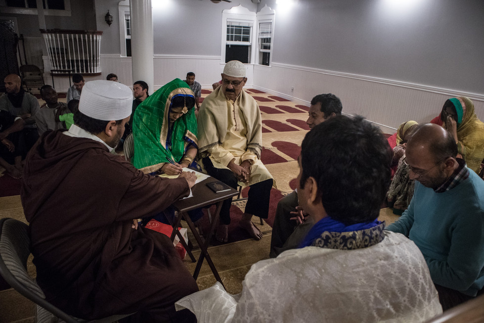 After the conclusion of the first night, the couple attended a community mosque to be religiously registered as husband and wife by the Imam.