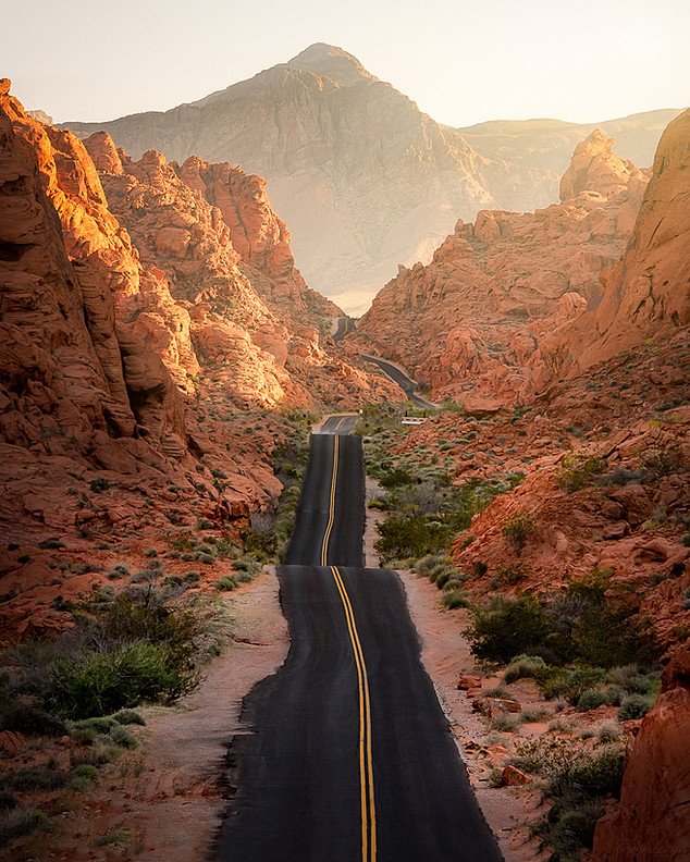 The long winding road through The Valley of Fire shot from above.