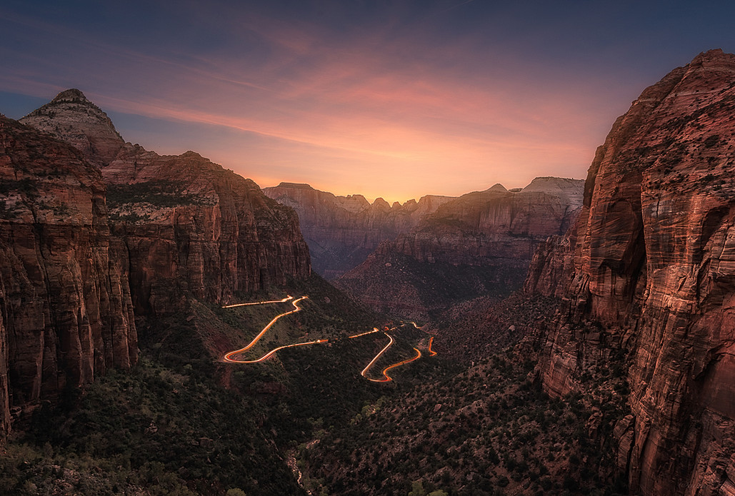 A time blend of a sunset in Zion National Park.