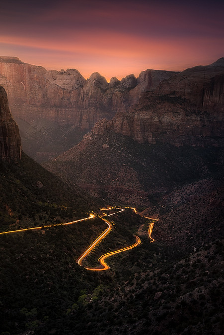 Sunset from the Canyon Overlook in Zion National Park.