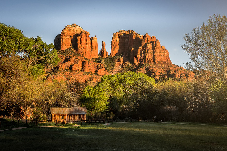 Iconic Cathedral rock in Sedona, Arizona during golden hour.