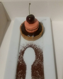 Chocolate tart with a macaron topping