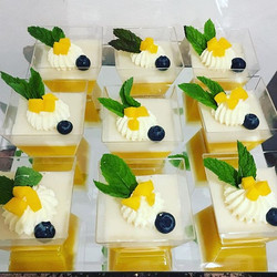 Close up on our mango panna cotta