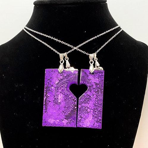 Purple Heart 2 pendant Necklaces set