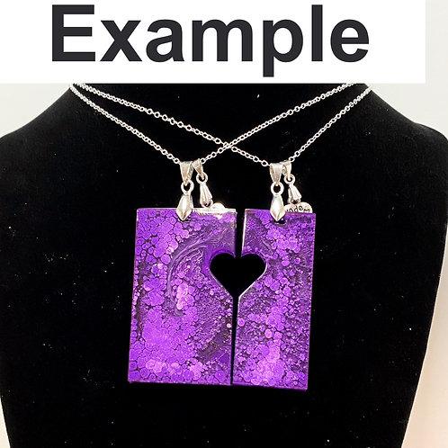 Heart 2 pendant Necklaces set