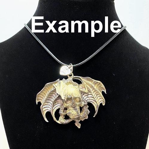 Dragon Wrapped Skull Pendant