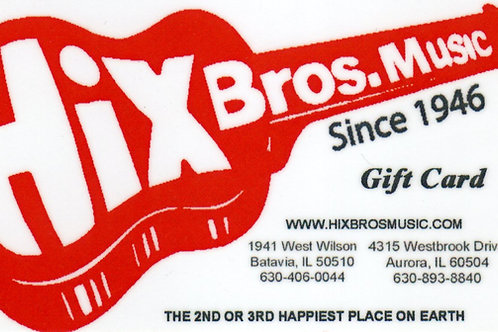 Hix Bros Music Gift Card $10.00