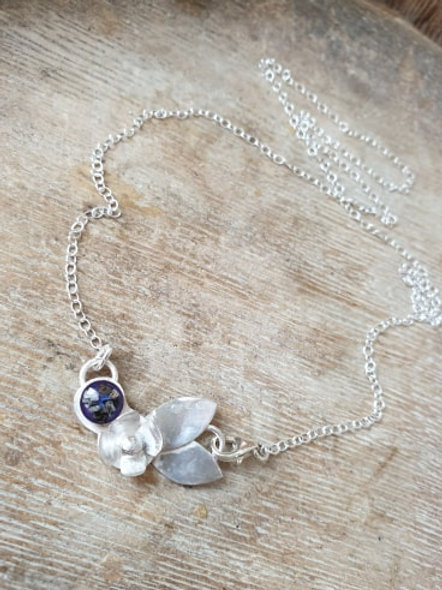 Sterling Silver Forget me nots pendant (small)