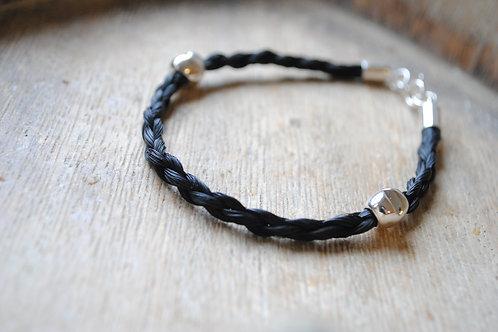 Sterling silver 2 bead bracelet