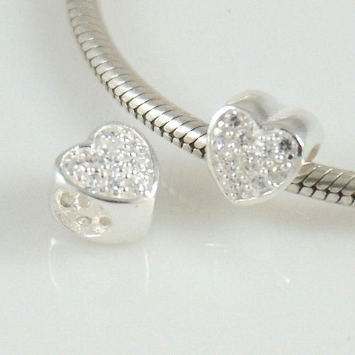 Sterling silver crystals heart bead