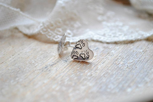 Sterling silver heart print earrings