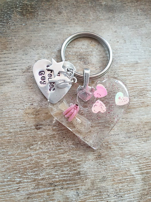 *New Shape* Heart key ring and sterling round tag