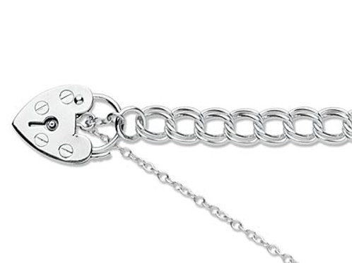 Sterling silver charm bracelet with padlock
